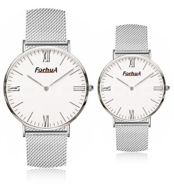 Quality Steel mesh band simple couple watch for sale