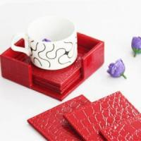 China 100% handmade pu leather table mat and coaster on sale