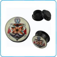 Wholesale TP02944 Fancy Anchor Picture Epoxy Acrylic Black Ear Plugs Hot Sale Body Jewelry from china suppliers