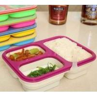 Wholesale Food grade Microwave Safe 3 Compartment Folding Silicone Lunch Box from china suppliers