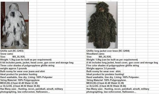 Quality Camo Suites/Nets Product Ghillie Suit for sale