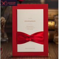 China Luxury Vintage Totem Laser Cut red lace Wedding invitation Card with ribbon on sale
