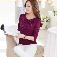 China Female fashion long-sleeved rhinestone T-shirt custom on sale
