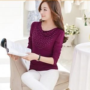 China Female fashion long-sleeved rhinestone T-shirt custom