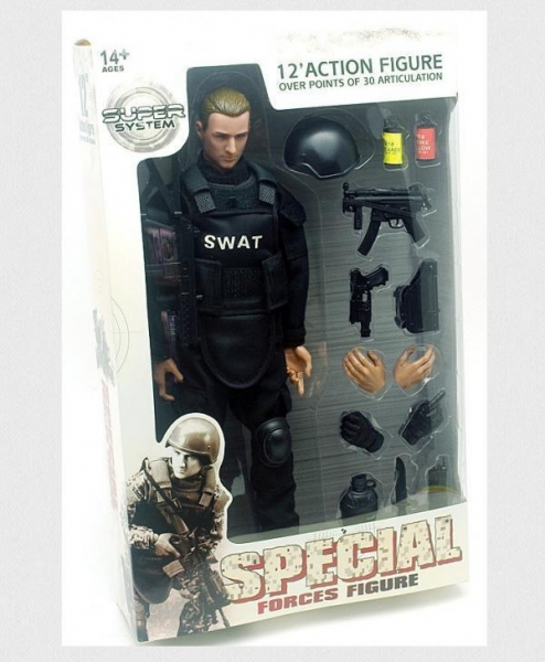 China SWAT Black Uniform Action Figure Model Toy Military Army Combat Game Toys Soldier Set