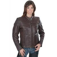 Wholesale Brown Leather Jacket with Mandarin Collar from china suppliers