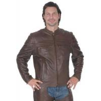 Wholesale Brown Leather Mandarin Jacket from china suppliers