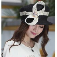 Designer women fabric twist hat with diamond casings brooch and Free Shipping