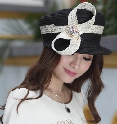 Quality Designer women fabric twist hat with diamond casings brooch and Free Shipping for sale