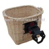 China Willow wicker bicycle baskets with handlebar bracket on sale