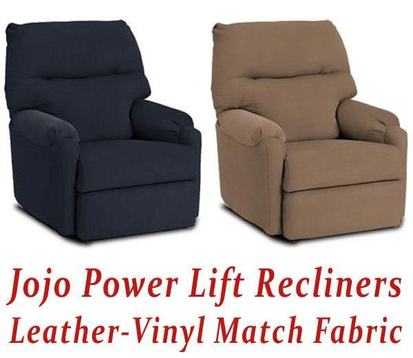 quality jojo power lift recliner in leather vinyl match for sale