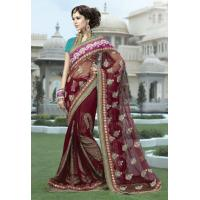 Wholesale Maroon Color Net and Viscose Saree from china suppliers