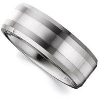 China Dura Tungsten Polished Beveled Band with Sterling Silver Inlay for sale