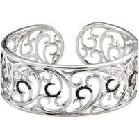 China Black and White Diamond Sterling Silver Cuff for sale