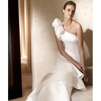 Wholesale Chic Mermaid One-Shoulder Satin Wedding Dress Bridal Gown With Ruffles from china suppliers