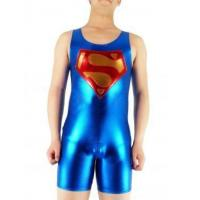 Wholesale Sleeveless Blue Short Superman Shiny Metallic Catsuit from china suppliers