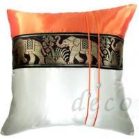 China Silk Cushion Covers - Large Thai Elephant Design Orange / Cream on sale