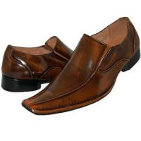 China Pearl Brown Shine Patent Leather Lined Slip On on sale