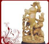 Wholesale Sandalwood krishna with horse sculpture from china suppliers
