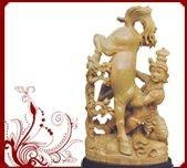 China Sandalwood krishna with horse sculpture
