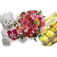 Wholesale COMBO 6 - Bouquet of Flowers, Box of chocolates and Stuffed Toy from china suppliers