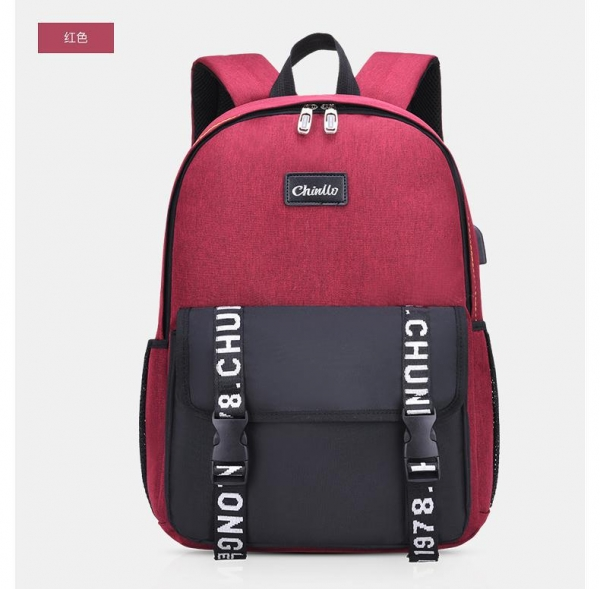China New Stylish Zippered Backpack with External USB Port 6388