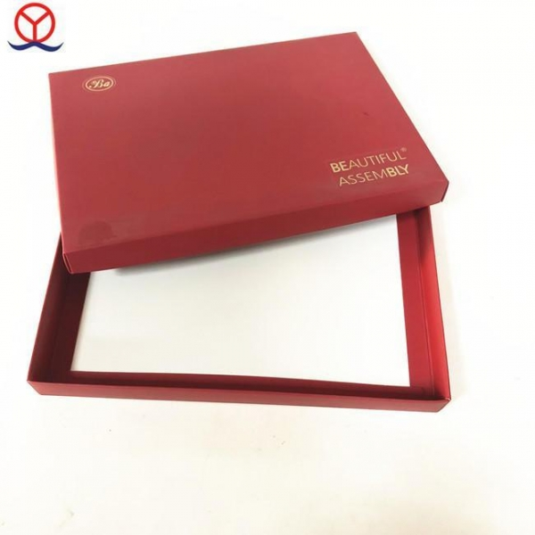 Quality cardboard custom design hot stamping logo white inside wholesale red gift box/ red paper box for sale