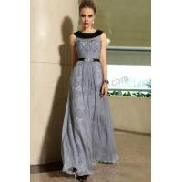 Wholesale Grey round neck Sleeveless floor-length Lace formal evening dress S895 from china suppliers