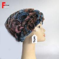 Quality Adult Knitted Rex Rabbit Fur Hat for sale