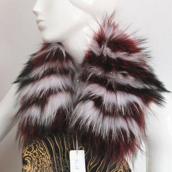 China dyed color top quality real raccoon fur jacket collar