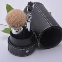 China shaving kit S6 silvertip badger hair brush with mach3 razor travelling shaving set with pouc on sale
