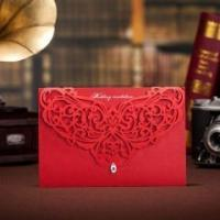 China Unique Red Lace Wedding Invitation With Diamond - Set of 50 on sale
